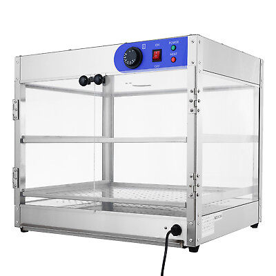 24x20x15 Commercial 2-tier Countertop Food Pizza Warmer Display Cabinet Case