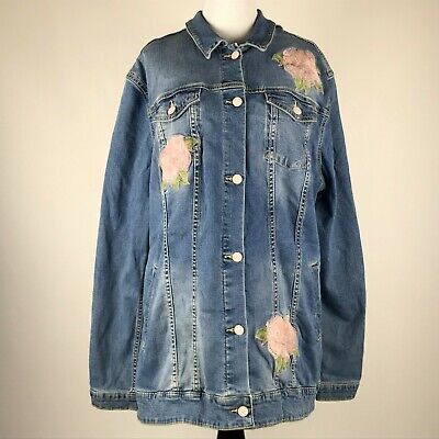 Used, LuLaRoe Jaxon Women Floral Embroidered Denim Jackets sz 3XL NWT for sale  Shipping to India