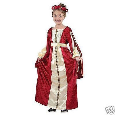 Girls 4-12 Red Royal Medieval Tudor Princess Queen Fancy Dress Costume 4-14 yrs