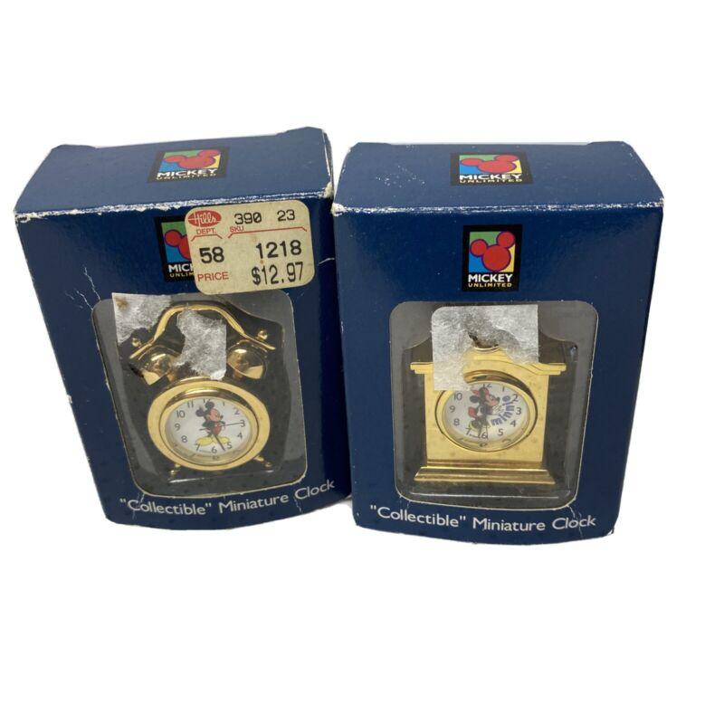 Verichron Miniature Mickey Unlimited Minnie & Mickey Brass Plated Clock Set