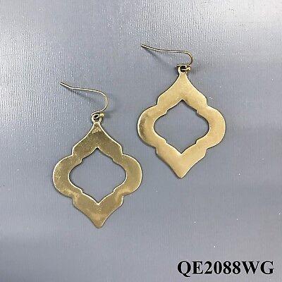 Simple Antique Gold Hammered Quatrefoil Design Drop Dangle Style Hook Earrings