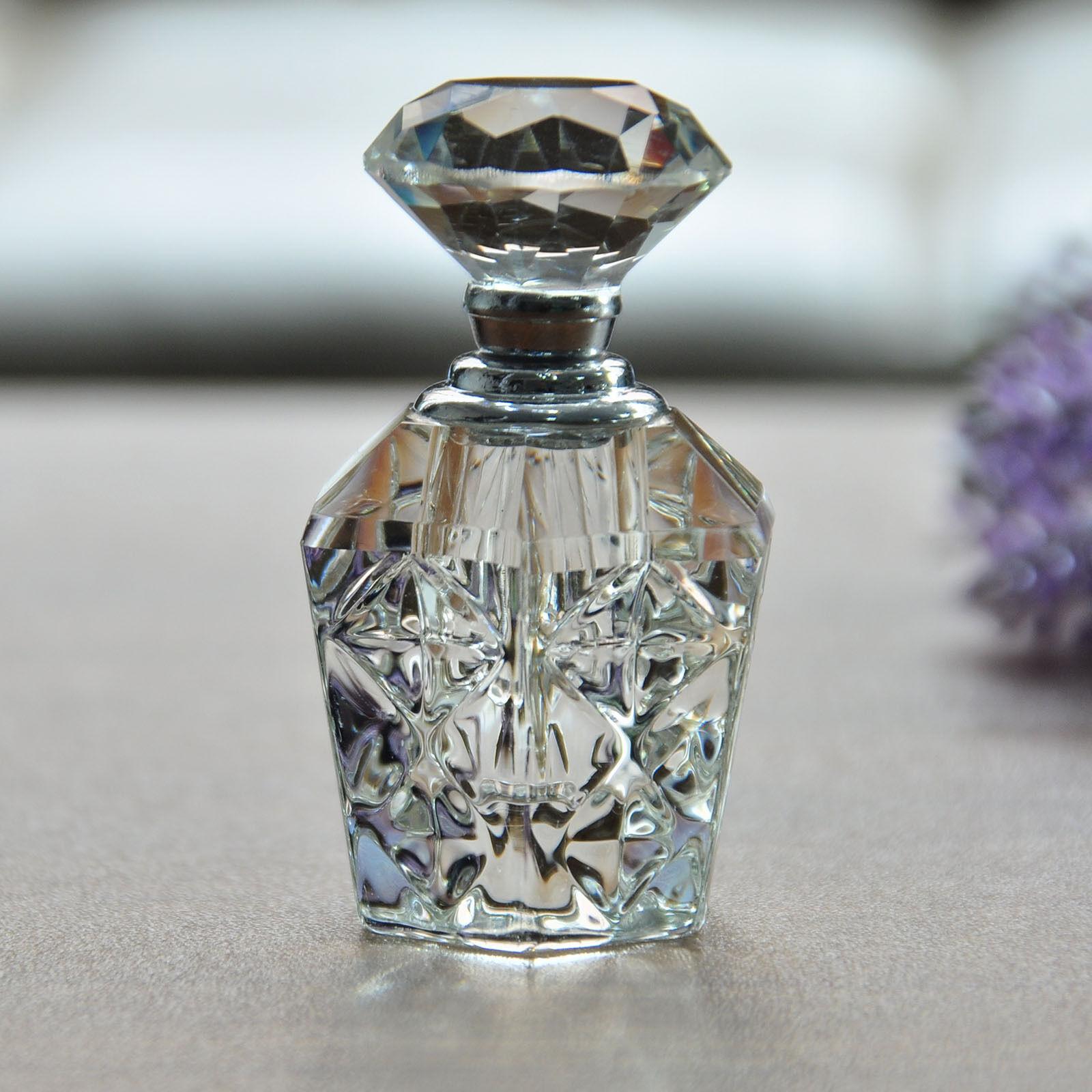 Vintage empty refillable crystal cut glass perfume bottle for Retro glass bottles