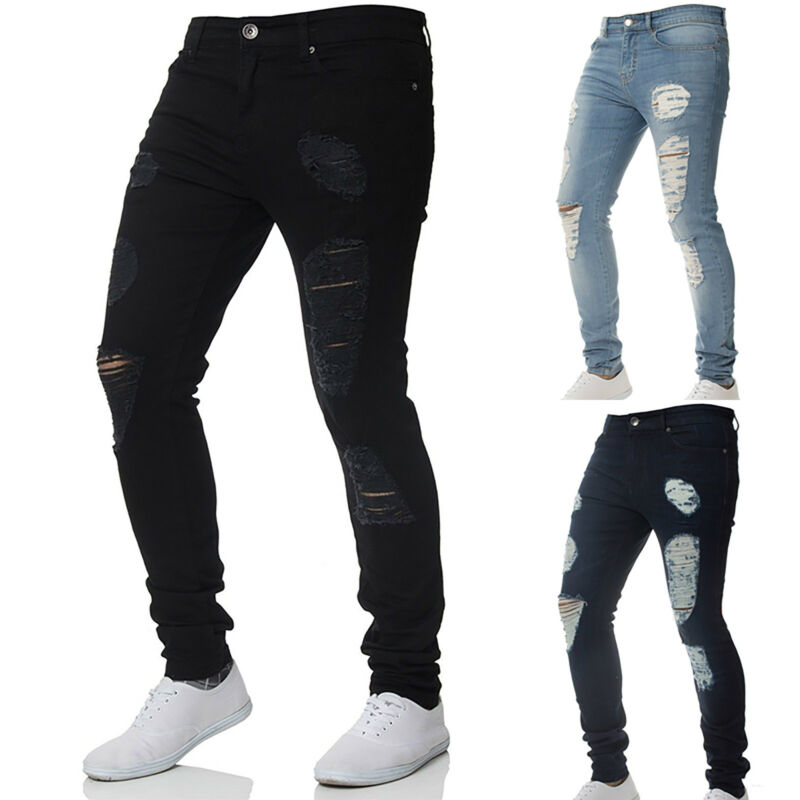 Men Stretch Ripped Skinny Jeans Distressed Frayed Slim Fit B