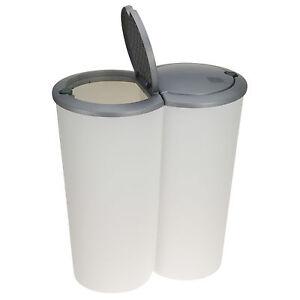 2-fach Mülleimer Doppel Duomülleimer Abfalleimer Mülltrenner Müllsammler Weiß