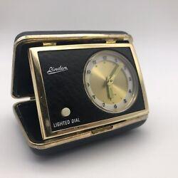 Vintage Linden Travel Alarm Clock Black & Gold Case Lighted Dial *Read*