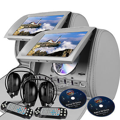 """Gray 2X 9"""" HD Car Headrest Monitor Pillow DVD USB Player Gaming System Headsets"""