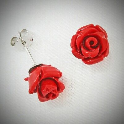 8mm Coral Red Rose Post Earrings in SOLID 925 Sterling Silver - NEW! Rose Earring Posts