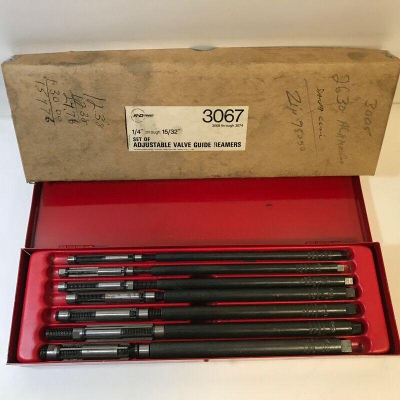 vintage K-D ADJUSTABLE VALVE REAMERS 7 PIECE 1/4-15/32 ORIGINAL BOX VERY NICE !