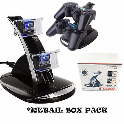 DUAL USB CHARGER DOCKING STATION CHARGING STAND FOR PLAYSTATION 3 PS3 CONTROLLER