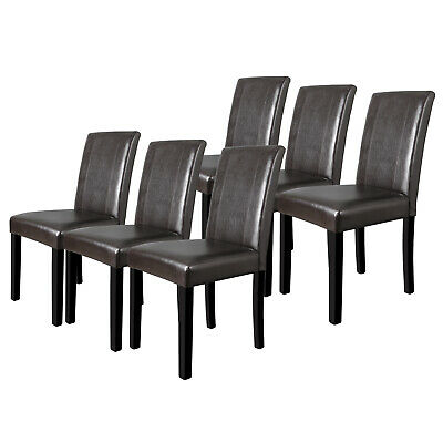 Set of 6 Dining Room Brown Parson Chairs Kitchen Formal Elegant Leather Design ()