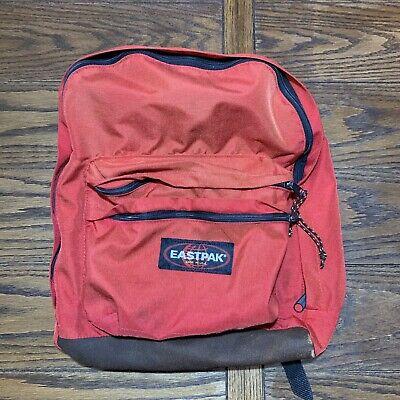 Vintage 90's Eastpak Leather Bottom Backpack Maroon