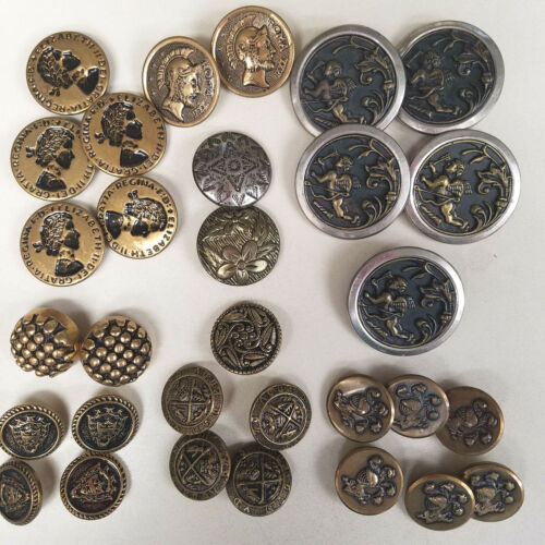 VICTORIAN Brass & Mixed Metal Buttons Cupid, Roman, Artistic Vintage Lot of 30