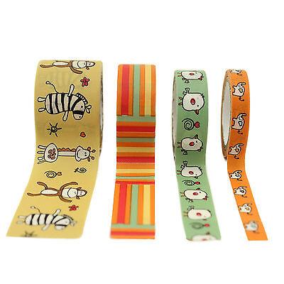 Set of 4 Zoo Animal Washi Tape Set Skinny Wide Planner Craft Scrapbooking