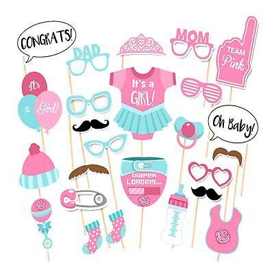 25 Babyparty Mädchen Foto Booth Props Geschlecht verraten Selfie Neugeborenes - Foto Booth