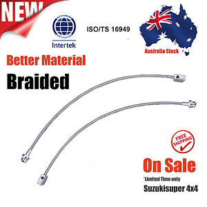 2 Front Extended Stainless Braided Brake Lines ABS Nissan Patrol GU Y61 Lift Kit