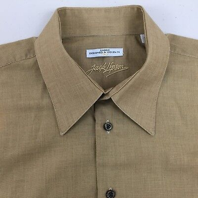 JACK LIPSON 16 R FABRIC DESIGNED & WOVEN IN iTALY LS MEN'S TAN DRESS SHIRT, used for sale  Dundee