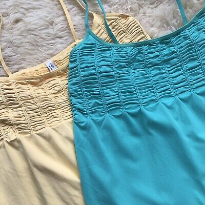 - LOT of Two Last Tango M Large Gathered Cami Green Yellow Athletic Wear A0513
