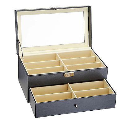 Brillenkoffer 12 Brille Brillenaufbewahrung Brillenpräsentation Brillenbox Leder