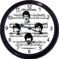 Beatles McCartney Yellow Submarine Wall Clock Sheet Music Lennon Ringo Harrison