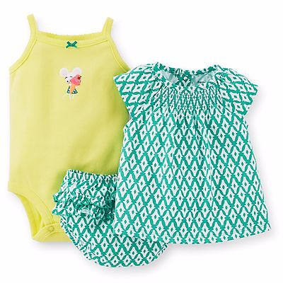 Carters 3 Piece Diaper Set Newborn 9 12 18 or 24 Months Baby Girl