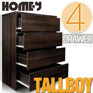 Tallboy Chest of 4 Four Drawers Cabinet Dresser Bedroom Storage Furniture Walnut