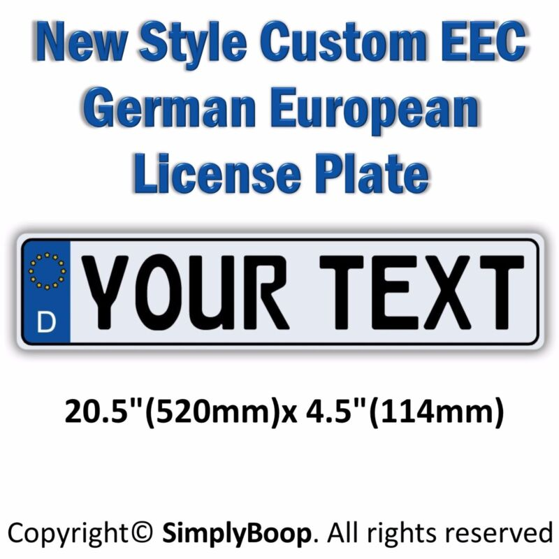 Germany European EEC Aluminum License Plate Custom Personalized with your Text