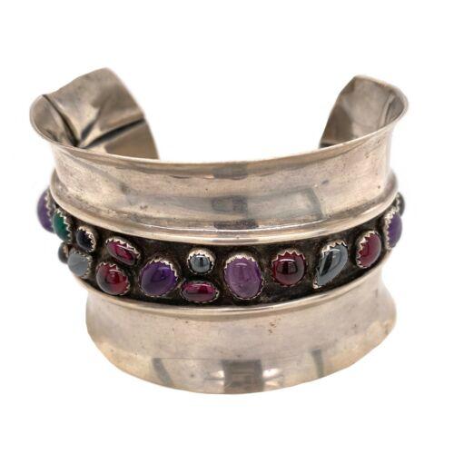 Sterling Silver Designer Bezel Set Stone Cuff Bracelet