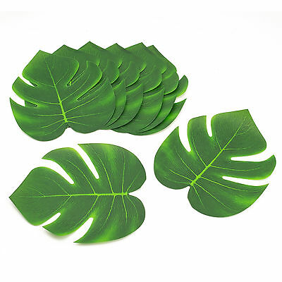 12 Pc Polyester Tropical Luau Leaves Hawaiian Green Leafs Table Decorations