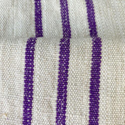 RARE Fustian Grainsack 1930s Purple Stripe Linen Cotton Blend Grain Sack