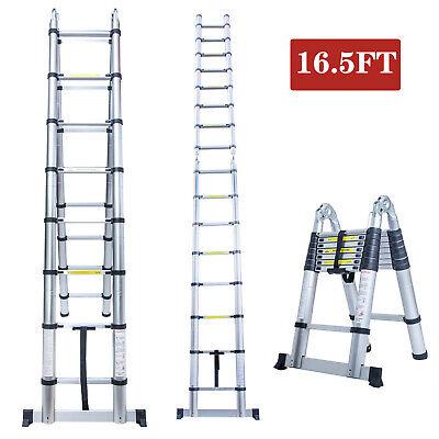 16.5ft Telescoping Extension Ladder Aluminium Multi-purpose Folding Step Ladder
