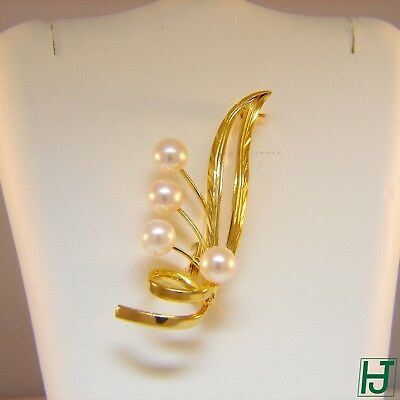 Brand New Cultured Pearl Brooch in 14k Yellow Gold
