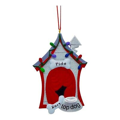 PERSONALIZED Dog Ornament Dog House Wrapped in Lights Christmas Tree Ornament ()