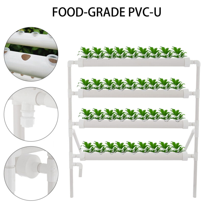 3 Layers Hydroponic Grow Kit 36 Plant Sites PVC Pipes Hydroponics Growing System