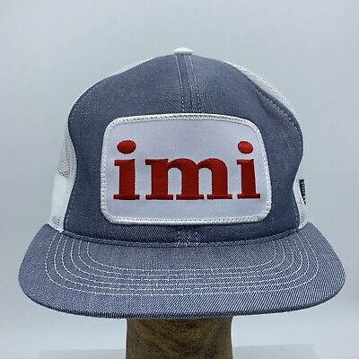 VTG 80's IMI Irving Materials Inc Trucker Mesh Snapback Hat American Flag Patch
