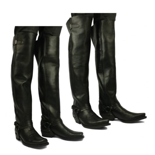 f4b925cc194 Details about Sendra 7977 Mens Leather Over Knee Thigh High Pull On Western  Cowboy Boots Black