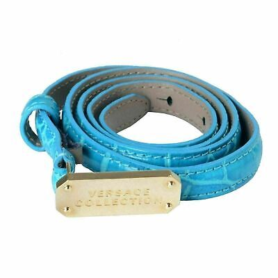 Versace Collection 100% Leather Blue Women's Belt US 85 IT 100