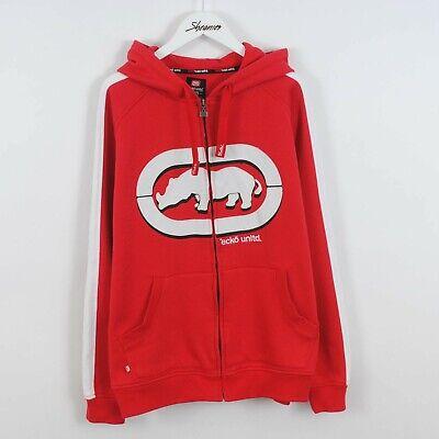 Vintage 90s Ecko Unltd Big Logo Full Zip Hoodie Sweatshirt in rot Größe XL Retro