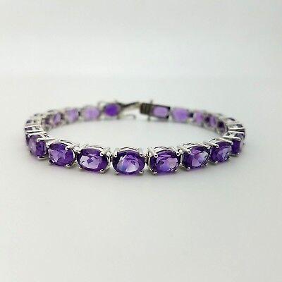 New KJC Sterling Silver 6mm 15Ct Natural Purple Amethyst 7.25'In Tennis Bracelet