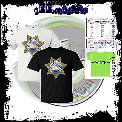 Mens Tv Shows (new CHIPS classic TV Shows Movie logo rare mens t-shirt size S to 4XLT)