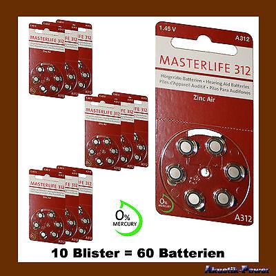 60 Stück Masterlife Hörgerätebatterie Typ 312 PR41 braun A312 Mercury Free