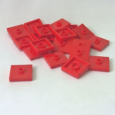20 NEW LEGO Plate, Modified 2 x 2 and 1 Stud in Center Red