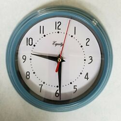 Equity Blue Wall Clock Indoor 8 Inch, Battery Operated Analog for Kitchen & Home