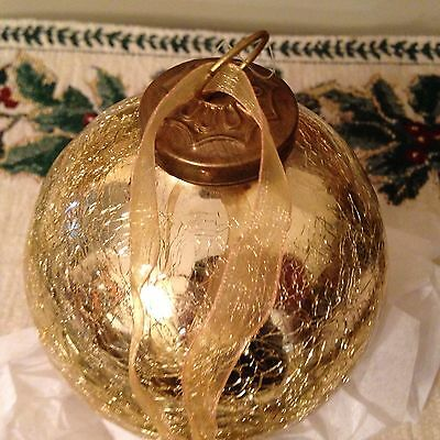 1 Large Kugel Vintage Style Gold Mercury Glass Christmas Beach Ornament New