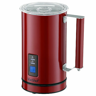 VonShef Premium Red Stainless Steel Dual Function Electric Milk Frother & Warmer