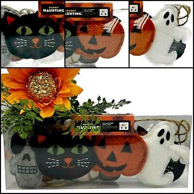 Black Cat Skull Halloween Felt Garland Ghost Pumpkin 6ft Banner Happy Haunting
