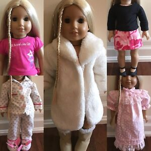 """18"""" Doll Outfits + Doll Carrier/Handbag + American Girl Top"""