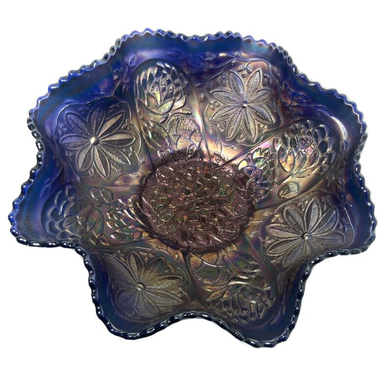 "Fenton Water Lily Blue Footed Carnival Glass Bowl  9 1/2"" Ruffled Saw Tooth Edge"