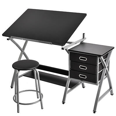 Adjustable Drafting Table Drawing Desk Board Art Craft with Stool & Drawers