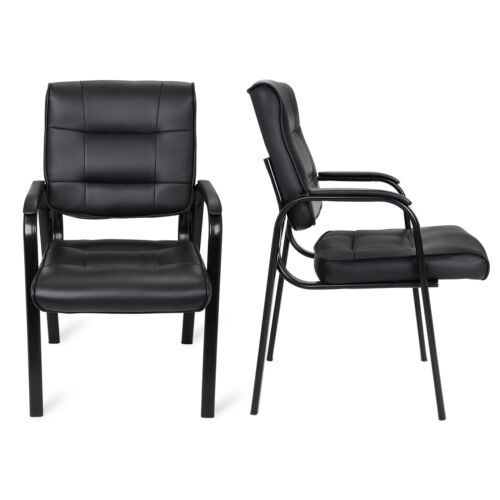 Black Leather Guest Chair Reception Waiting Room Office Desk Side Chairs Classic 7