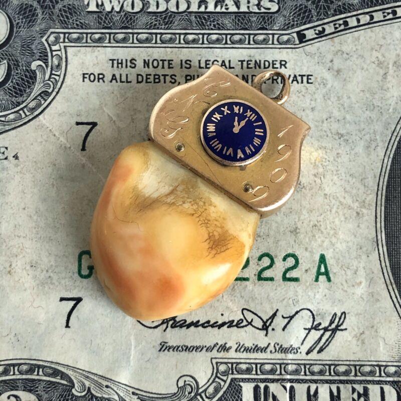 1909 Elks BPOE Lodge 871/Bronx NYC Tooth FOB 11th Hour Clock 14K Gold-Masonic